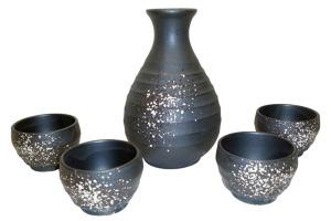 Tengu Sake Speckled stoneware sake set for warm or cold sake
