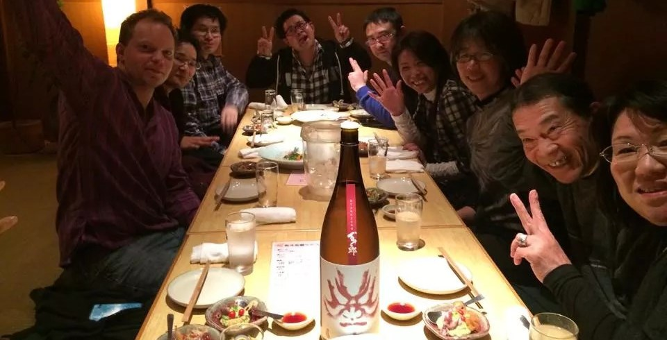 Enjoying sake with Hayashi Honten staff